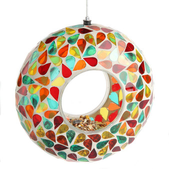 Lily's Home Hanging Outdoor Fly Through Wild Bird Feeder, an Excellent Addition to Any Garden, Mosaic. 6 Inches. Green, Yellow Orange