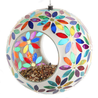 Lily's Home Hanging Outdoor Fly Through Wild Bird Feeder, an Excellent Addition to Any Garden, Mosaic. 5.5 Inches Diameter - Multi Color Flowers