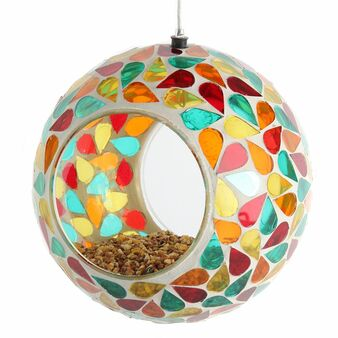 Lily's Home Hanging Outdoor Fly Through Wild Bird Feeder, an Excellent Addition to Any Garden, Mosaic. 5.5 Inches Diameter - Multi Color Droplets