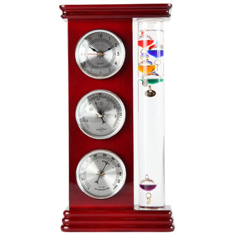 "Lily's Home Analog Weather Station, with Galileo Thermometer, a Precision Quartz Clock, and Analog Barometer and Hygrometer, 5 Multi-Colored Spheres (6"" L x 2"" W x 12"" H) - Silver"