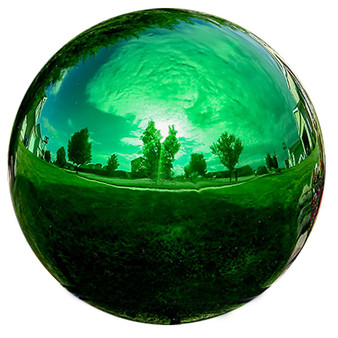 Lily's Home Stainless Steel Gazing Globe Mirror Ball, Colorful and Shiny Addition to Any Garden or Home. Sparkling Green (12 Inch)