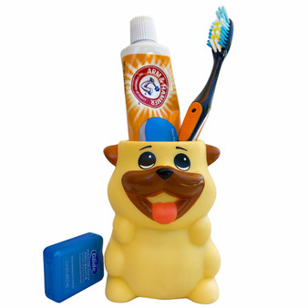 Lily's Home Fun Toothbrush Holder for Kids - Children's Bathroom Storage Organizer for Toothpaste and Toothbrushes. Also Great Holder for Pens, Pencils and Markers (Dog)