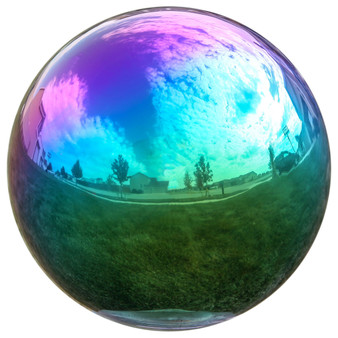 Lily's Home Gazing Globe Mirror Ball in Rainbow Stainless Steel - 10 Inch