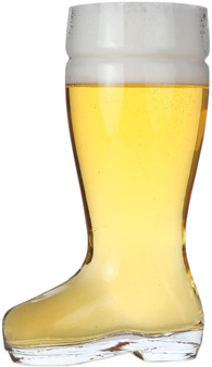 "Lily's Home Das Boot Oktoberfest Beer Stein Glass, Great for Restaurants, Beer Gardens, and Parties, Funny Bachelor Party Gift, King Size 2 Liter Capacity, 12"" H x 4.75"" W x 6.88"" D)"