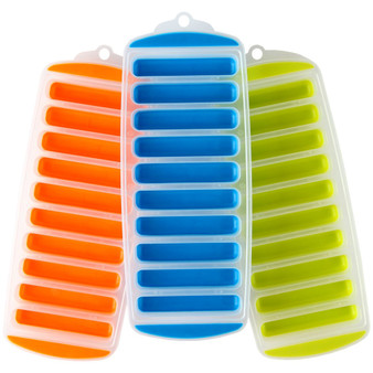 "Lily's Home Silicone Narrow Ice Stick Cube Trays with Easy Push and Pop Out Material, Ideal for Sports and Water Bottles, Assorted Bright Colors (11"" x 4 1/2"" x 1"", Set of 3)"
