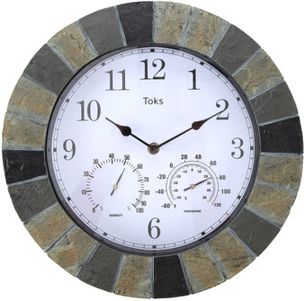 Lily's Home Hanging Wall Clock, Includes a Thermometer and Hygrometer and is Ideal for Indoor and Outdoor Use, Faux-Slate (14 Inches)