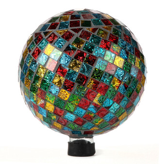 "Lily's Home Colorful Mosaic Glass Gazing Ball, Designed with a Stunning Holographic Square Mosaic Pattern to Bring Color and Reflection to Any Home and Garden, (10"" Diameter)"