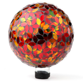 "Lily's Home Colorful Mosaic Glass Gazing Ball, Designed with a Stunning Holographic Petal Mosaic Pattern to Bring Color and Reflection to Any Home and Garden, Red and Gold (10"" Diameter)"