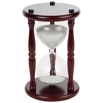 "Lily's Home 60-Minute Hourglass Sand Timer with Cherry Finished Wood Base, Stylish Centerpiece for Home or Office Use, Ideal Gift for Executive, Chef or Kitchen Connoisseur (9.5"" Tall x 6"" Dia. Base)"