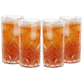Lily's Home Acrylic Old Fashioned Hi-Ball Whiskey Tumblers, Premium Glasses are Shatterproof and Ideal for Indoor or Outdoor Use, Reusable, Crystal Clear (18 oz. Each, Set of 4)