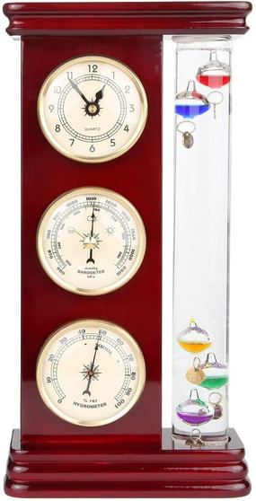 "Lily's Home Analog Weather Station, with Galileo Thermometer, a Precision Quartz Clock, and Analog Barometer and Hygrometer, 5 Multi-Colored Spheres (6"" L x 2"" W x 12"" H) - Gold"