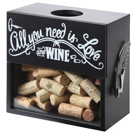 "Lily's Home Wine Cork Holder Shadow Box with Magnetic Corkscrew, Wood and Glass Box, Wood and Glass Box Makes the Ideal Gift for the Happy and Hydrated Drinker, Black (8"" x 4 1/2"" x 8"")"