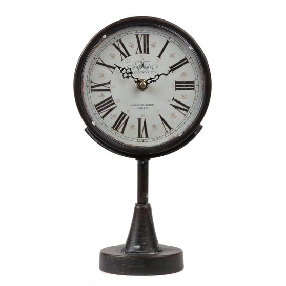 "Lily's Home Antique Inspired Decorative Mantle Clock with Large Roman Numerals, Battery Powered with Quartz Movement, Fits with Victorian or Antique Décor Theme, Black (11 3/4"" Tall x 6 1/2"" Wide)"
