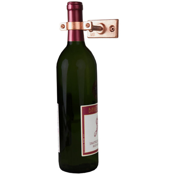 """Lily's Home Bar Wall Mount Single Wine Bottle Display Holder, Industrial Design with Mounting Hardware, Works with Wine or Liquor Bottles, Copper Finish (4-1/2"""" x 1-3/8"""" x 2-3/4"""")"""