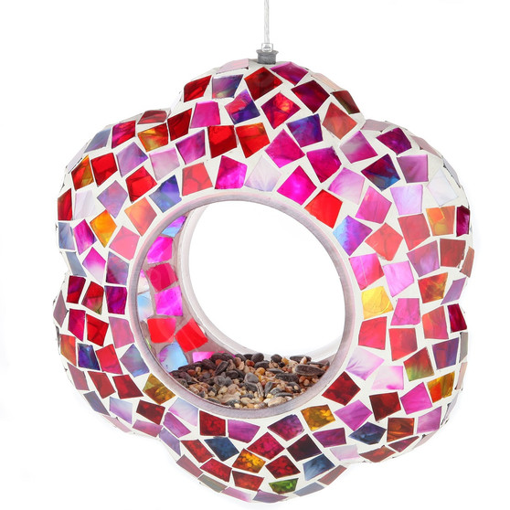 Lily's Home Hanging Outdoor Fly Through Wild Bird Feeder, an Excellent Addition to Any Garden, Mosaic (8.25 Inches)