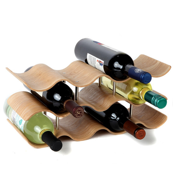 Lily's Home Countertop Wave Wine Rack, Wood, Elegant and Modern, Table Top Wine Storage (Oak, 11 Bottles)