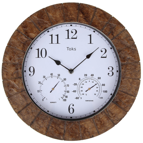 Lilyshome 14-Inch Faux-Slate Indoor or Outdoor Wall Clock with Thermometer and Hygrometer (Burl)