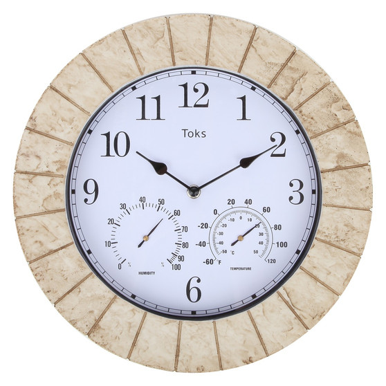 Lily's Home 14-Inch Faux-Slate Indoor or Outdoor Wall Clock with Thermometer and Hygrometer (Travertine)