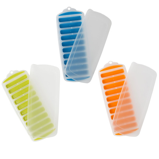 Lily's Home Silicone Narrow Ice Stick Cube Trays with Easy Push and Pop Out Material, Ideal for Sports and Water Bottles, Assorted Bright Colors. With Lids