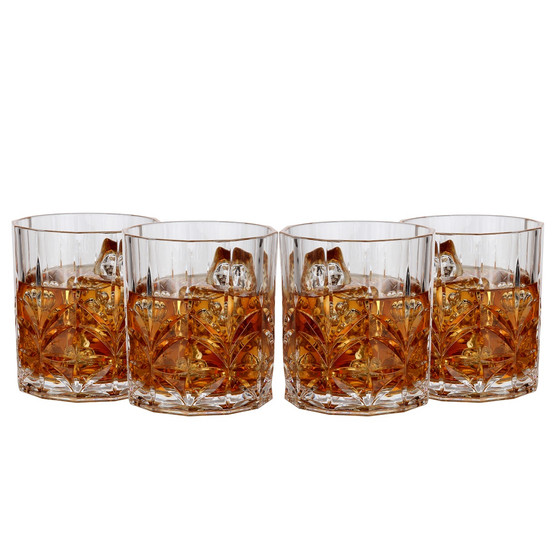 Lily's Home Unbreakable Acrylic Double Old Fashioned Whiskey Tumblers, Premium Glasses are Shatterproof and Ideal for Indoor or Outdoor Use, Reusable, Crystal Clear (13 Oz. Each, Set of 4)