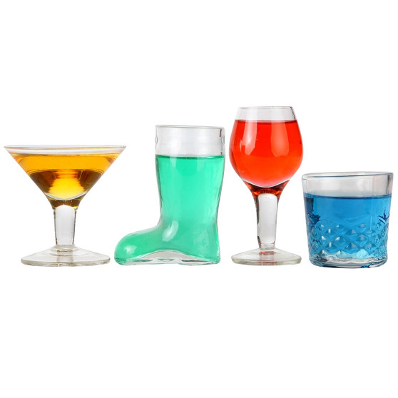 Lily's Home Mini Cocktail Glasses Shot Glasses, Novelty Designs Make this Set the a Gift of Any Bartender. Set of 4