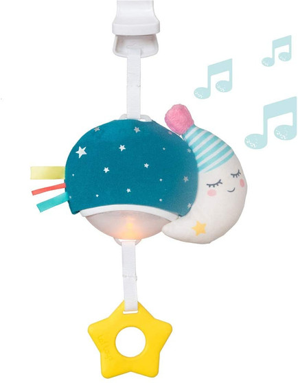 Taf Toys Musical Mini Moon, On-The-Go Pull Down Hanging Music and Lights Infant Toy   Parent and Baby's Travel Companion, Soothe Baby, Keeps Baby Relaxed While Strolling, for Newborns and Up