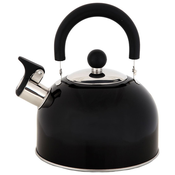 Lily's Home 2 Quart Stainless Steel Whistling Tea Kettle, the Perfect Stovetop Tea and Water Boilers for Your Home, Dorm, Condo or Apartment. (Black)