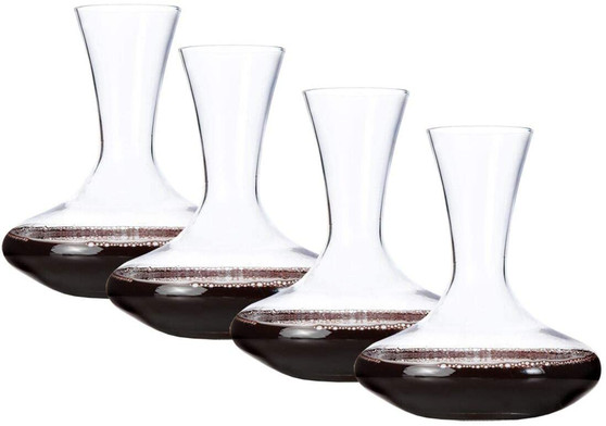 Lily's Home Individual Glass Wine Decanters, Miniature Personal Size Carafes Ideal for Dinner Parties and Wine Tastings, Makes Wonderful Gift - Set of 4