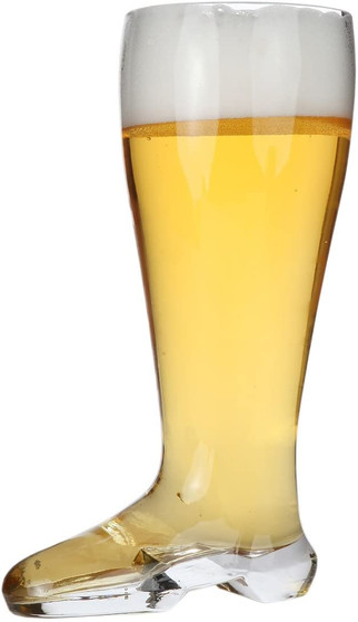 """Lily's Home Das Boot Oktoberfest Beer Stein Glass, Great for Restaurants, Beer Gardens, and Parties, Funny Bachelor Party Gift, Jackboot Style, King Size (2 Liter Capacity, 12"""" H x 4.75"""" W x 6.88"""" D)"""