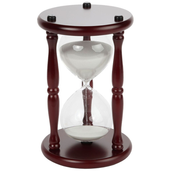 """Lily's Home 60-Minute Hourglass Sand Timer with Cherry Finished Wood Base, Stylish Centerpiece for Home or Office Use, Ideal Gift for Executive, Chef or Kitchen Connoisseur (9.5"""" Tall x 6"""" Dia. Base)"""