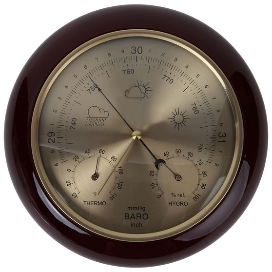 Lily's Home Weather Station Wall Decor, Wood Frame Barometer, Thermometer and Hygrometer