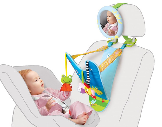 Taf Toys in-Car Play Center | Parent and Baby's Travel Companion, Keeps Both Relaxed While Driving, Mirror to Watch Baby from Driver's Seat, Enables Easier Drive and Easier Parenting.