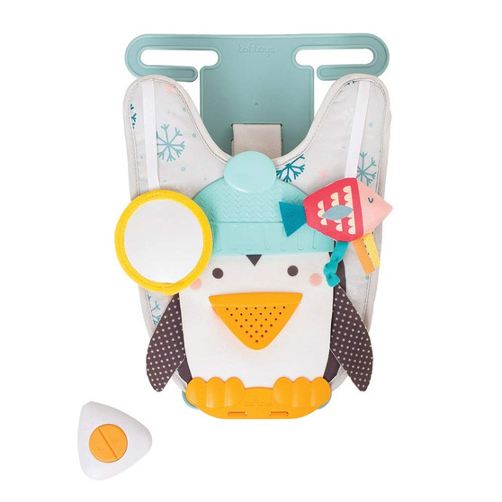 Taf Toys Penguin Play and Kick Infant Car Toy Travel Activity Center for Rear Facing Baby with Remote Control   Parent and Baby's Travel Companion, Keeps Both Relaxed While Driving