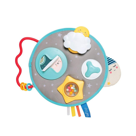 Taf Toys Mini Moon Activity Center for Babies. Baby's Activity & Entertaining take-Along Center. Soft Colors to Keep Baby Calm, Plenty of Fun Activities That aid to Develop Baby's Motor Skills.