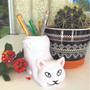 Lily's Home Fun Toothbrush Holder for Kids - Children's Bathroom Storage Organizer for Toothpaste and Toothbrushes. Also Great Holder for Pens, Pencils and Markers (Cat)