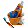 Lily's Home Fun Toothbrush Holder for Kids - Children's Bathroom Storage Organizer for Toothpaste and Toothbrushes. Also Great Holder for Pens, Pencils and Markers (Pelican)