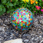 """Lily's Home Colorful Mosaic Glass Gazing Ball, Designed with a Stunning Holographic Square Mosaic Pattern to Bring Color and Reflection to Any Home and Garden, (10"""" Diameter)"""