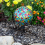 """Lily's Home Colorful Mosaic Glass Gazing Ball, Designed with a Stunning Holographic Crackle Mosaic Pattern to Bring Color and Reflection to Any Home and Garden, Purple, Blue and Green (10"""" Diameter)"""