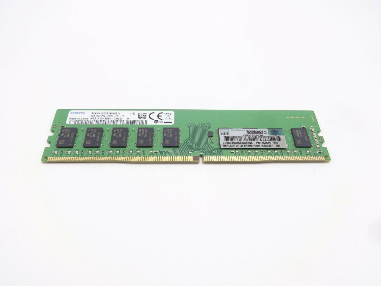 HP HPe 862689-091 8GB 1Rx8 PC4 19200 DDR4 2400T Server Memory