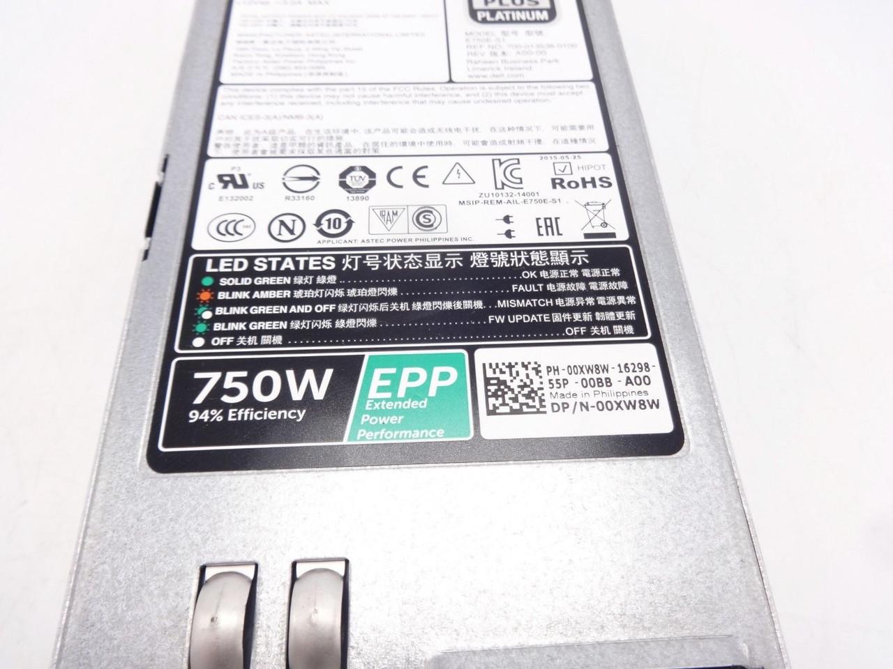 Dell 0XW8W 750W EPP 80+ Platinum PSU