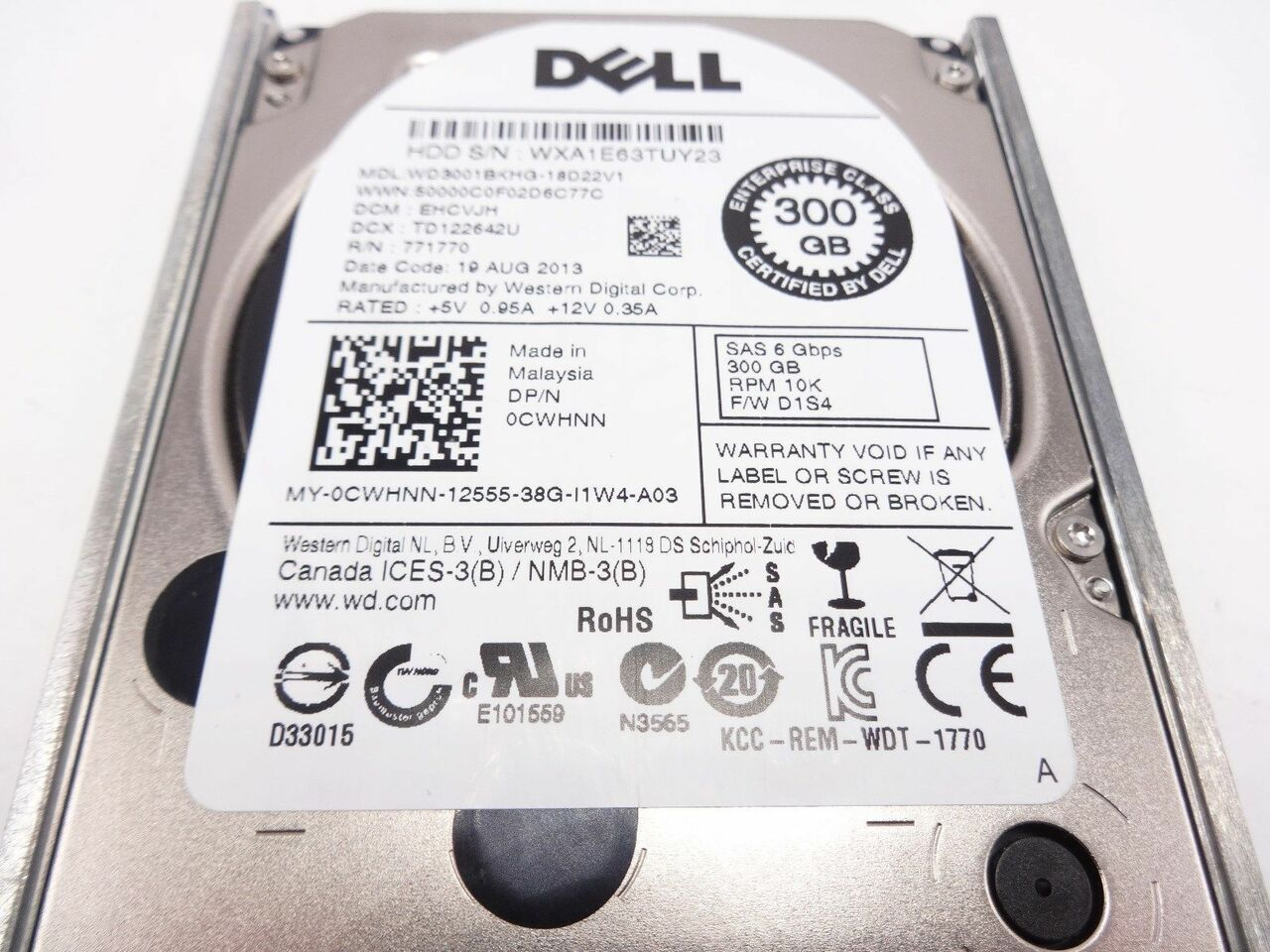 Dell CWHNN 300GB SAS 6 GBPS 10K 2.5in hard drive WD3001BKHG