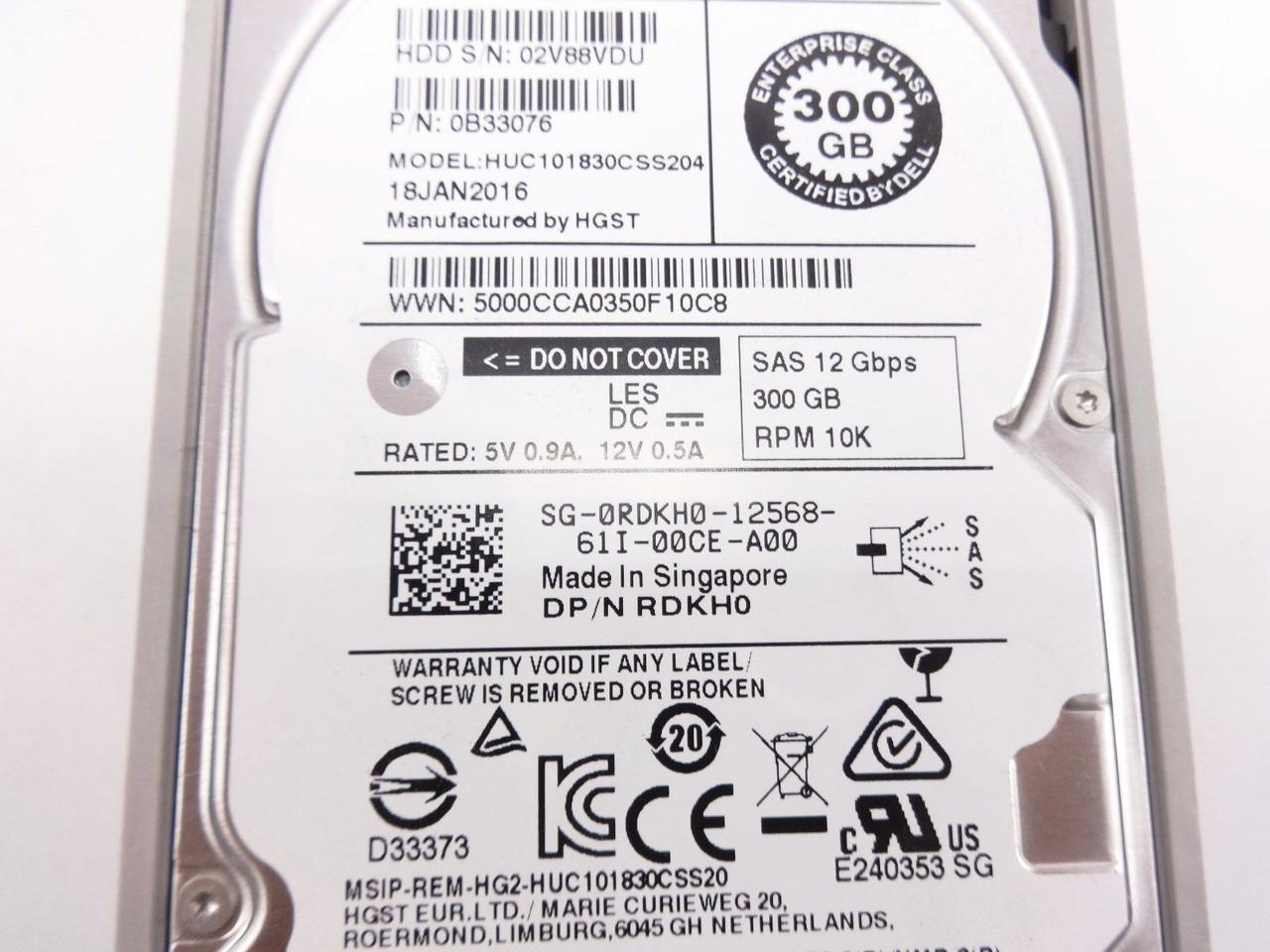 Dell RDKH0 300GB SAS 10K 2.5 12GBPS hard drive HUC101830CSS204
