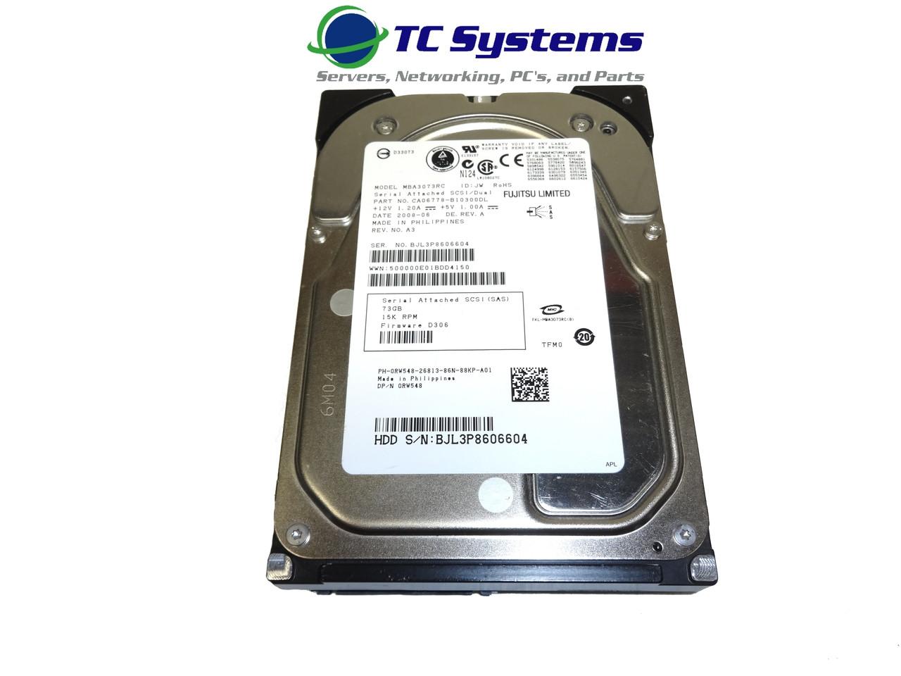 Dell RW548 MBA3073RC 73GB SAS 15k 3.5 Hard Drive