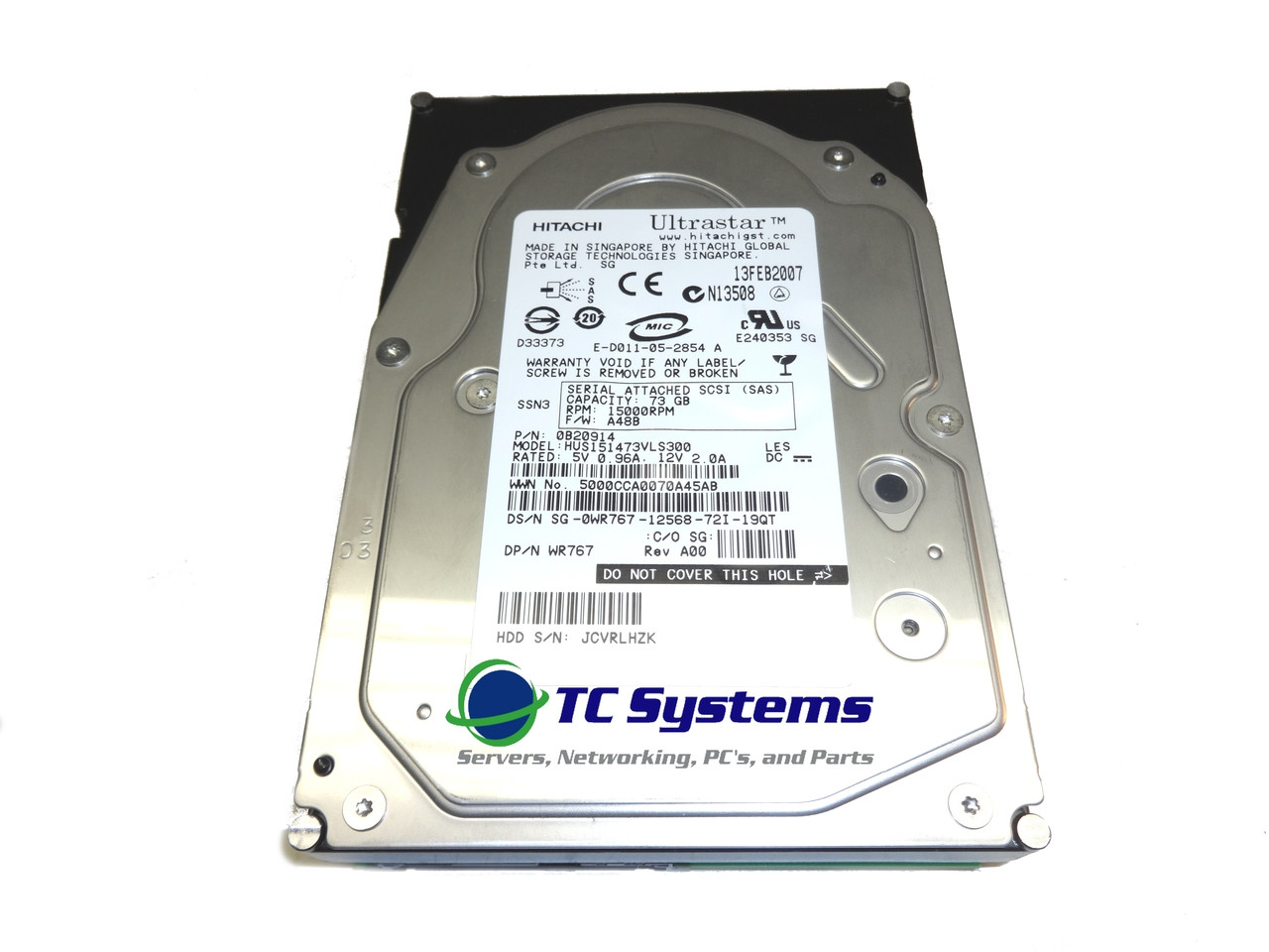 Dell WR767 HUS151473VLS300 73GB SAS 15K 3.5 Hard Drive