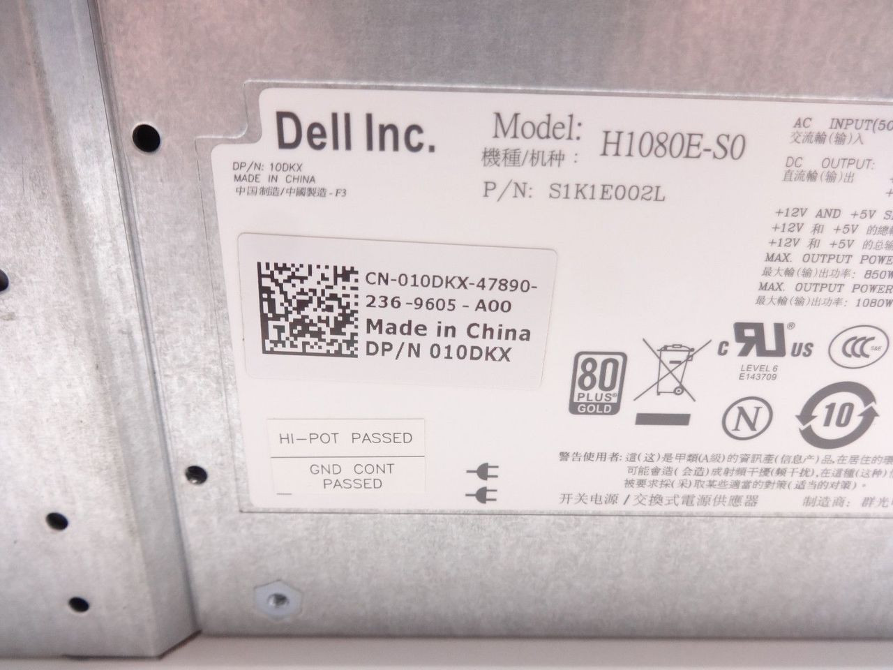 DELL 10DKX EQUALLOGIC PS6100 1080W POWER SUPPLY