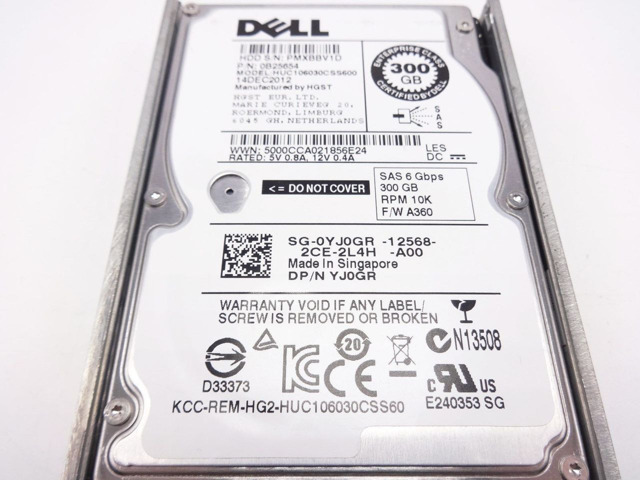 Dell YJ0GR 300GB SAS 10K 2.5 6GBPS hard drive