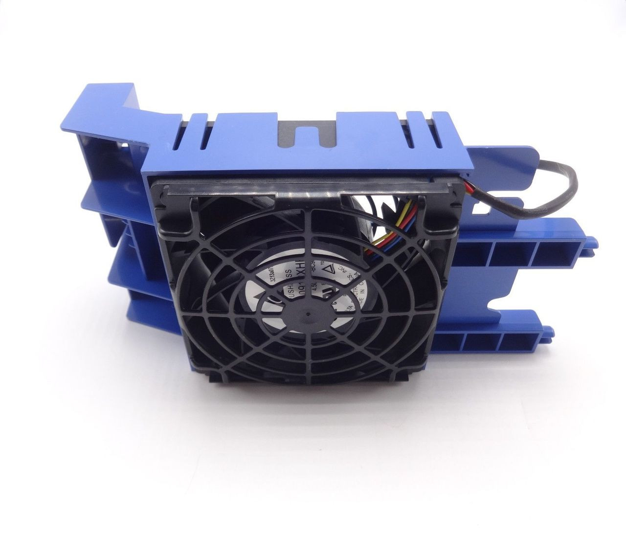 HP 746470-001 Fan 2-3 and holder assembly - Includes the blue plastic fan holder with 92mm x 38mm (3.62 inches x 1.50 inches) fan and cable - Mounts behind the hard drive cages