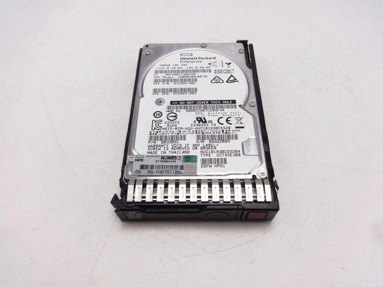 HP 872735-001 300GB 10K 12Gbps 2.5 SAS DS Hard Drive