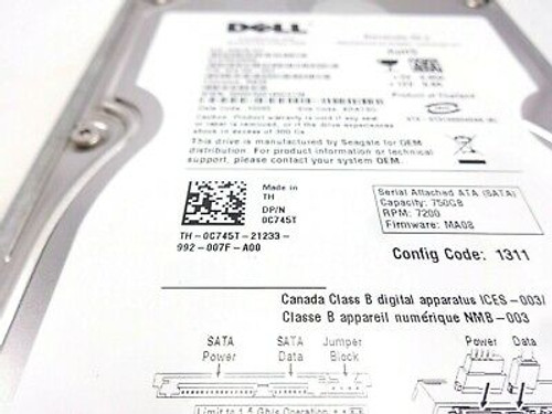 Dell C745T 750GB SATA 7200RPM 3.5 Hard Drive