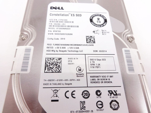 DELL 02DK1 2TB 7200 3.5 SAS SED 6GBPS hard drive ST2000NM0041